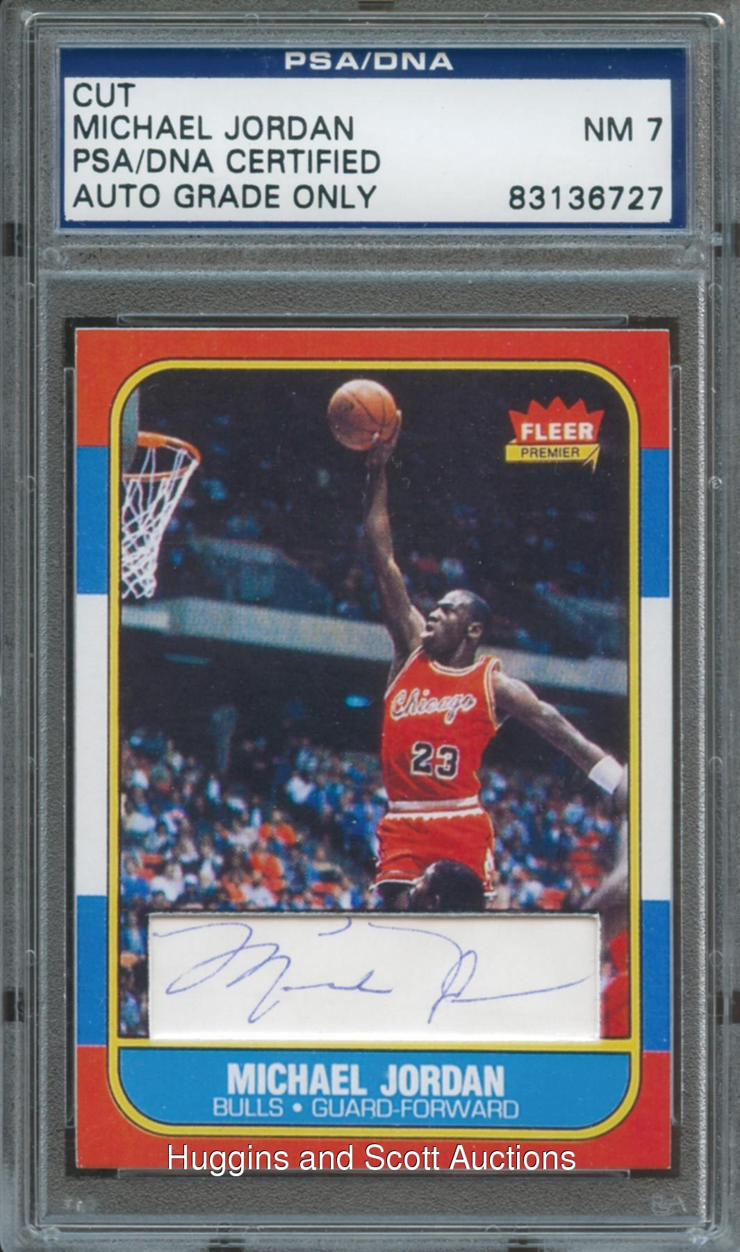 fa0b3371e0e Michael Jordan Cut Signature Rookie Reprint Card PSA/DNA 7